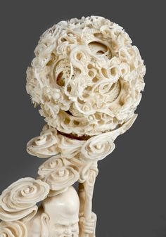 Ivory, in two parts Sculptures, Lion Sculpture, Chinese Embroidery, Illustration Art, Illustrations, Dragon Art, Qing Dynasty, Chinese Painting, Ropes