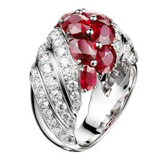 """Haute Joaillerie – Adler Joailliers Ring """"Trencadis"""" in 18kt white gold set with 10 rubies 7.88 cts and 64 diamonds 2.60 cts"""