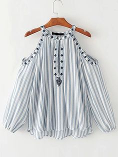 SheIn offers Open Shoulder Vertical Striped Embroidery Top & more to fit your fashionable needs. Boho Fashion, Girl Fashion, Fashion Dresses, Womens Fashion, Fashion Design, Casual Skirt Outfits, Girl Outfits, Mode Top, Ladies Dress Design