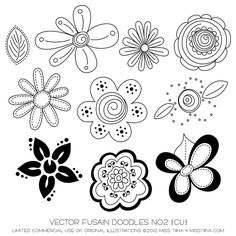 Fusain Doodles No2 Digital Stamps Clipart Clip Art Illustrations - instant…