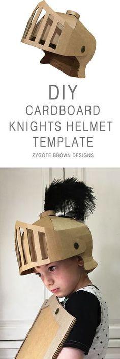 DIY cardboard Knights Helmet template by Zygote Brown Designs