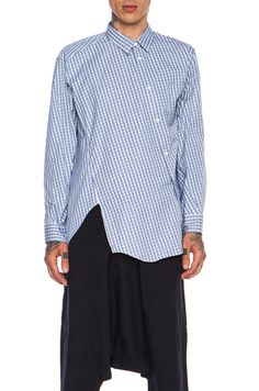 This picture makes my OCD go CRAZY!!!!!!Comme Des Garcons SHIRT Asymmetric Cotton Button Down in Blue Check