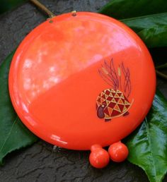 Vintage Revlon Love Pat Retro Red / Orange Turtle Compact.