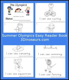 Free Summer Olympic Easy Reader Book - 8 page book for kids to read - 3Dinosaurs.com