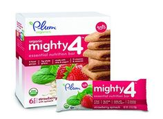 Plum Organics Mighty 4 Essential Nutrition Bars Strawberry with Spinach, 6 Count (Pack of 8) - http://goodvibeorganics.com/plum-organics-mighty-4-essential-nutrition-bars-strawberry-with-spinach-6-count-pack-of-8/