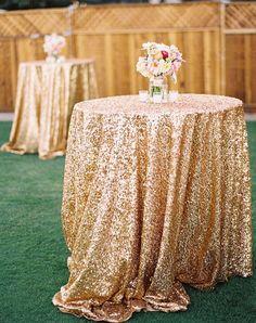 48 ''Runde Gold Pailletten Tischdecke, großhandel Hochzeit Schöne Pailletten Tischdecke/Overlay/Abdeckung(China (Mainland))