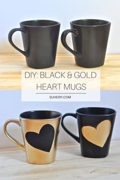 DIY: Spray-Painted Black & Gold Heart Mugs