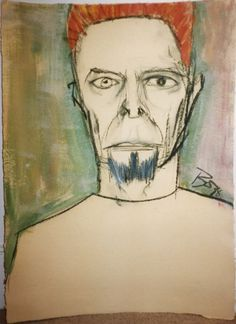 Self-portrait 1 by David Bowie. Charcoal, Pastel, Acrylic and Wash. About 77cm x 57cm