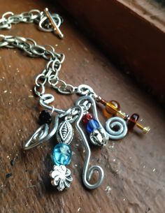 #Galvanized #Steel #Goddess #Spiral #Dangle #Necklace with by Eldwenne, $30.00 #etsy #handmade #jewelry #pagan #wiccan