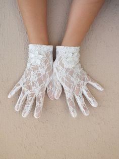 ivory lace glove glove lace bridal glove wedding by WEDDINGHome, $25.00