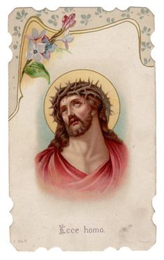 Jesus Crown of Thorns Vintage Die Cut Holy Card Depose