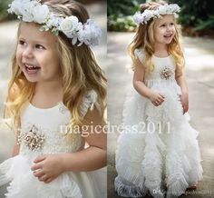 Gorgeous White Flower Girls' Dresses For Wedding 2016 Jewel Cap Sleeves Ruffles Kids Formal Wear Long Beach Girl'S Pageant Gowns Ivory Dress Lace Flower Girl Dresses From Magicdress2011, $93.4  Dhgate.Com