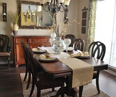 Simple classic dining room with the table facing the buffet. Dining Room Sets, Dining Room Design, Home Decor Inspiration, Decor Ideas, Classic Dining Room, Ruby Slippers, Interior Decorating, Interior Design, Fall Table