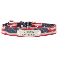 The American Flag Dog Collar with Nameplate is both functional and stylish. Made in the USA, waterproof, odor resistant and weather-proof. Get yours today!