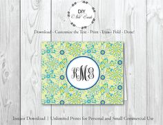 Summer Breeze - DIY Printable Monogram Note Card Template - Add Text, Print, Trim, Fold, Done! Unlimited Personal Prints. KAT.0279 by DIYNotecards on Etsy