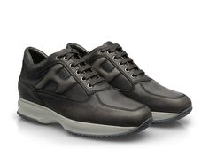Hogan interactive sneakers for men in Grey leather - Italian Boutique €193