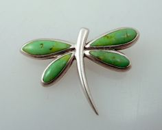 green turquoise sterling dragonfly pendant   Vintage Sterling & Green Turquoise Gestural Dragonfly Pendant