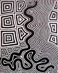 Ronnie Tjampitjinpa ~ Untitled (Tingari motifs and snake), 1997