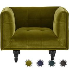Connor Armchair, Olive Cotton Velvet from Made.com. Green. Connor deserves a double take, it's one of our most handsome designs. Uncomplicated and f..