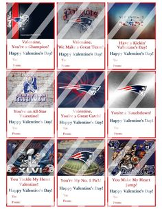 New England Patriots Valentines Day Cards Sheet #9 (instant download or printed)