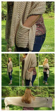 16 Reader's Pocket Wrap Shawl Free Crochet Patterns & Paid - DIY Magazine Poncho Au Crochet, Crochet Prayer Shawls, Crochet Shawls And Wraps, Knit Or Crochet, Crochet Scarves, Crochet Crafts, Crochet Clothes, Easy Crochet, Free Crochet
