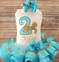 Cowgirl Horse Birthday Tutu Outfit  Aqua & by TinyTotsEmbroidery