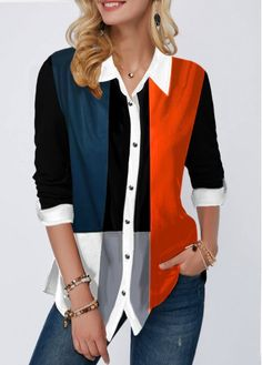 Turndown Collar Color Block Button Up Shirt Collar Shirts, Shirt Blouses, Collar Pattern, Mode Inspiration, Blouses For Women, Shirt Style, Button Up Shirts, Fashion Outfits, Fashion Fashion