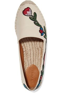 Gucci - Embroidered Leather Espadrilles - Neutral - IT