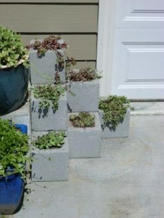 Cinder Block Step Planter - finished planter