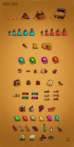 Miscellaneous objects, potions, health, mana, books, keys,.. etc…