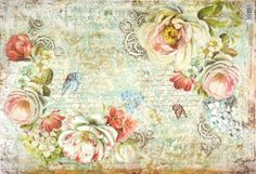 Rice Paper for Decoupage Decopatch Scrapbook Craft Sheet Roses and Gearwheels
