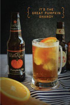 It's the Great Pumpkin Shandy  Ingredients 2 bottles pumpkin ale – Brooklyn Post Road Pumpkin Ale 2 bottles ginger beer – Fentiman's Ginger Beer 4 slices of orange
