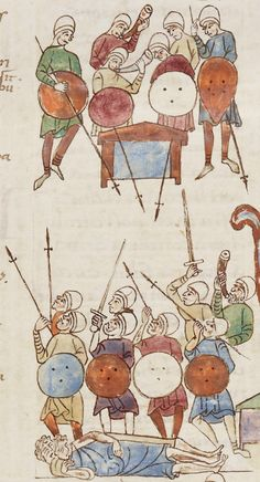 Roda Bible, Spain, 11th century. The Ark brought into the camp / Death of the sons of Eli.
