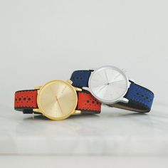 Color your wrist with these classy timepieces. #Komono Winston Brogue Red and Blue #watches
