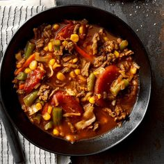 I work full time and have a family of four. We sit down to a home-cooked meal just about every night, many times thanks to my slow cooker. This hearty soup is often on the menu. —Theresa Jackson, Cicero, New York Beef Veggie Soup, Vegetable Soup Recipes, Healthy Soup Recipes, Chili Recipes, Slow Cooker Recipes, Cooking Recipes, Hamburger Recipes, Grandma's Recipes, Recipies