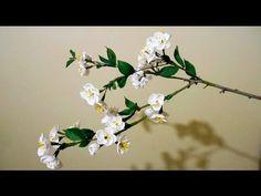 Цветы из гофрированной бумаги - цветущая веточка вишни, мастер-класс - YouTube
