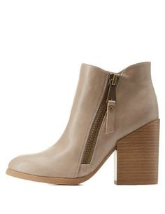 Chunky Heel Ankle Booties with Zipper