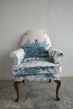 Furniture - Timorous Beasties - UPHOLSTERY: LONDON TOILE BLUE FABRIC
