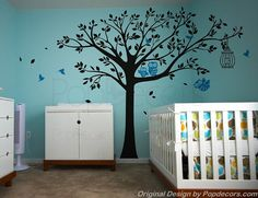 Nursery Tree Wall Decals Owls Wall Stickers Baby Wall Decal - Nursery Tree with Cute Owls A - Free Squeegee and color change - Playroom Arts