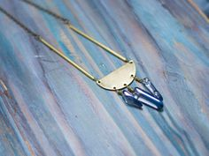 Geometric brass pendant Golden minimal pendant by moondomeuk