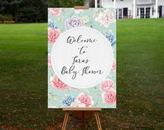Baby Shower Welcome Sign Printable Personalized Floral Welcome Board Roses and Succulent Template Instant Download Signage Boy 0052-B by TppCardS #tppcards #printable #invitations