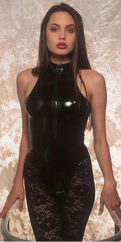 Angelina Jolie Latex Corset Black Stockings High Collar