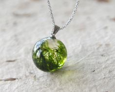 Real moss globe necklace  unique woodland crystal by UralNature, $38.00