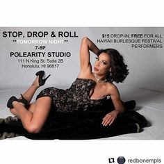 Yes! Class is on tomorrow Thursday 9/21 at 7pm in Chinatown!  #Repost @redbonempls (@get_repost)  WHOOP WHOOP!!! I'll be teaching Stop Drop & Roll TOMORROW NIGHT 7P at Polearity Studio :: $15 Drop-In and @hi_burlyfestival performers are FREE!! :: MORE DETAILS HERE --> http://ift.tt/2xgeS6b . #hawaiiburlesquefestival #hawaiiperformers #hawaiidance #breakdancing #bboy #bgirl #floorwork #redboneburlesque #HIBurlyFest #hiburlyfest #hawaiiburlesque #pastiesinparadise #hawaiianwhodunnit…