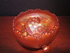 Fenton Horses Head Medallion Marigold Carnival Glass Footed Rose Bowl 1920