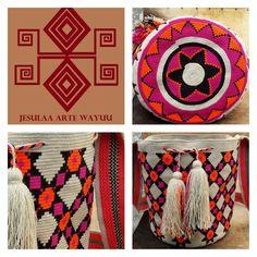 Mochila wayuu diseño geometrico tradicional.