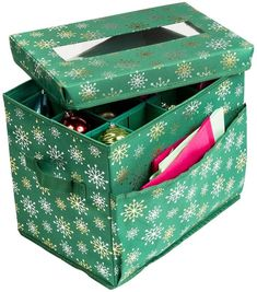 Honey-Can-Do 36-Piece Ornament Storage Container - Green Foil #affiliate