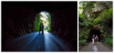 Engagement session in the Nada Tunnel in the Red River Gorge in Slade, Kentucky. See more photos from this engagement session on our blog here: www.kevinandannablog.com. Lexington Kentucky Wedding Photographer: www.kevinandanndweddings.com