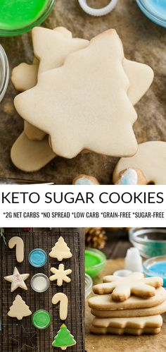 Keto Sugar Cookies - the perfect soft & buttery low carb Christmas cut-out cookies for the holiday baking season. Best of all, healthier classic cookies Sugar Free Cookies, Sugar Free Desserts, Cut Out Cookies, Sugar Free Recipes, Keto Cookies, Cookies Et Biscuits, Keto Recipes, Dessert Recipes, Healthy Sugar Cookies