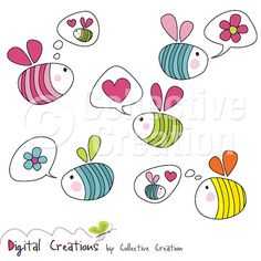 Bright Bees with Speech & Thought Bubbles Digital Clipart - Ideal for Scrapbooking, Cardmaking and Paper Crafts